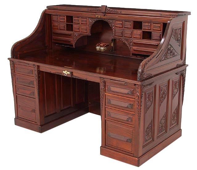 66 Quot Mahogany Carved Cutler S Rolltop Desk